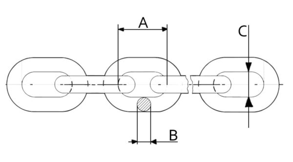 Drawing of a G80 Short link chain